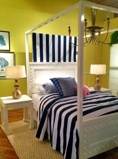 Lime-Yellow Bedroom With Black and White Linens