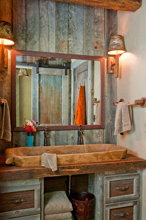 eclectic wood bathroom