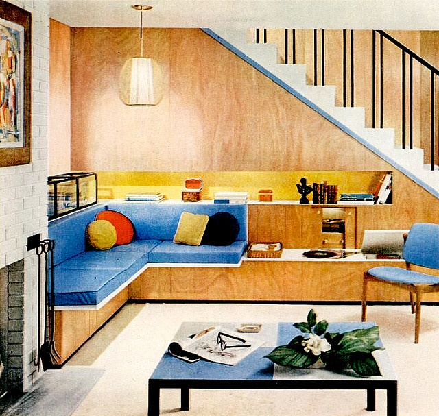 1950s Design with Blue Couch Cushions
