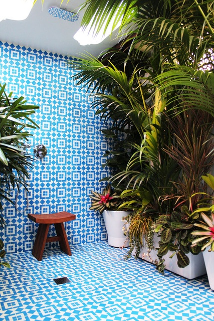 Beautiful Blue and White Tiled Outdoor Shower