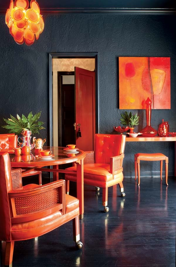 Black And Orange Eclectic Dining Room