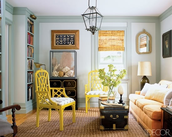 Black and Yellow Sitting Area with Draper Espana Chest