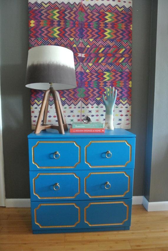Blue and Gold Inspired Draper Dresser