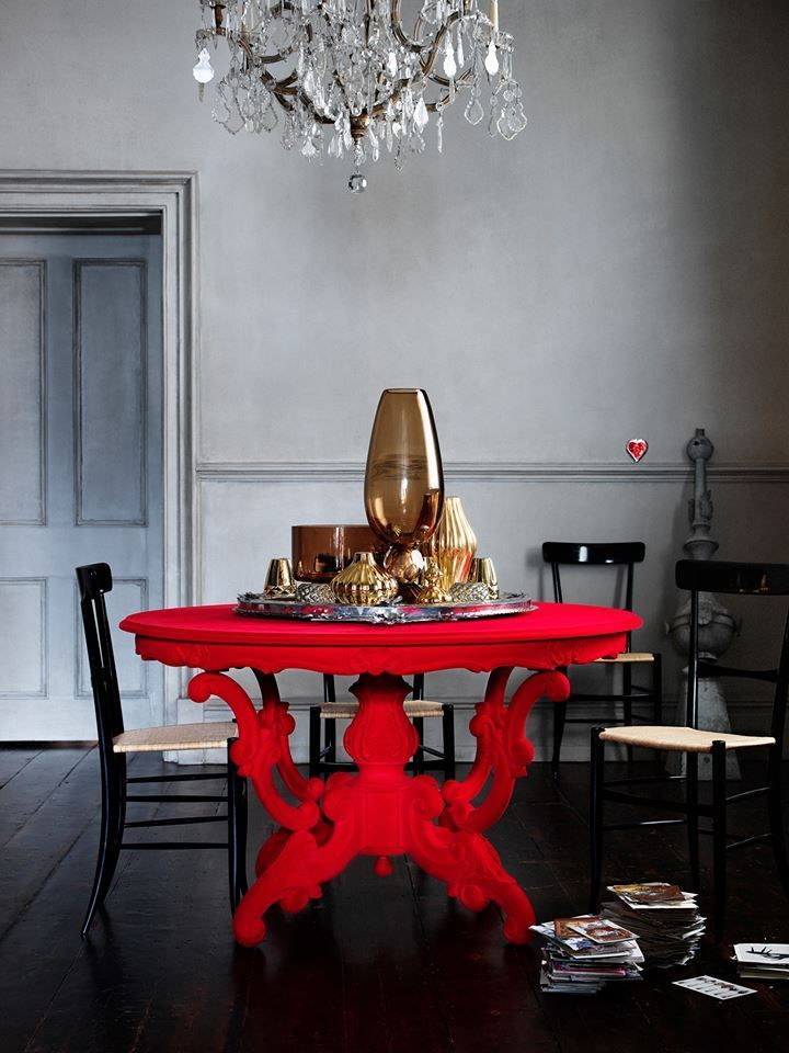 Bold Red Dining Room Table
