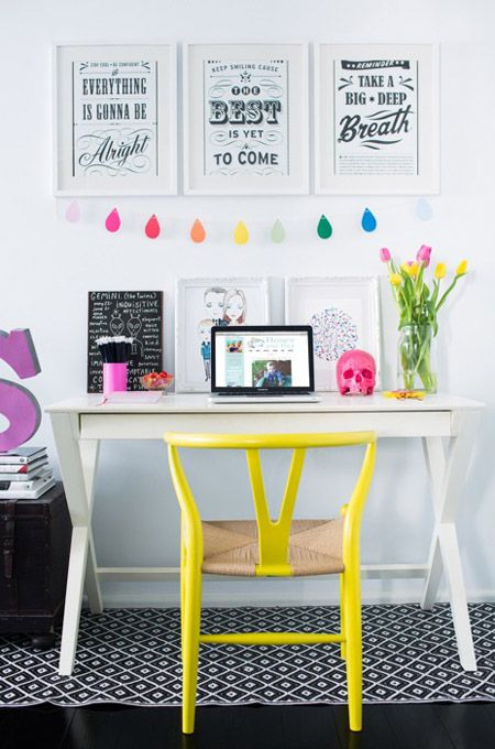 Bright White Workspace With a Yellow Pop