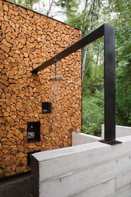 Chopped Wood and Concrete Outdoor Shower