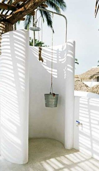 Clean and Simple Beachy Outdoor Shower