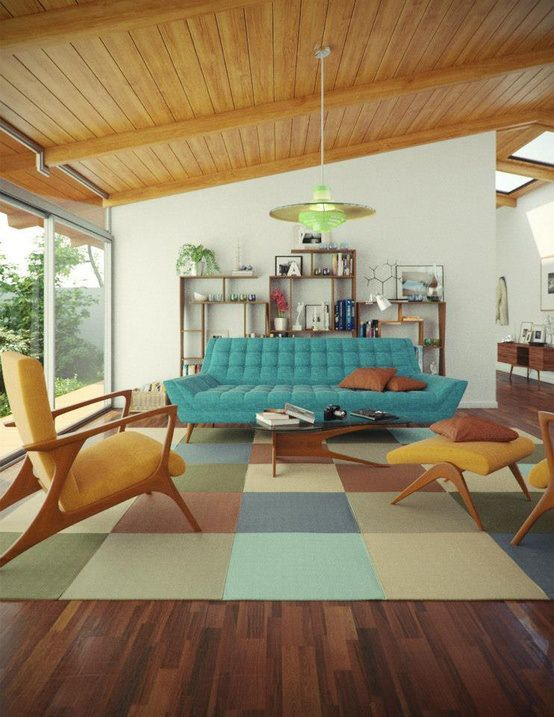 Colorful Midmod Living Room