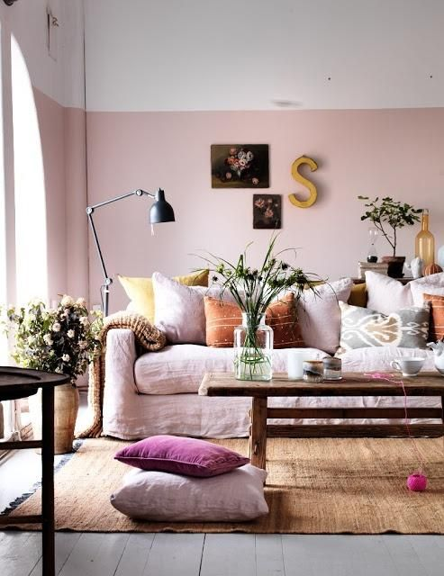 Cozy Living Room With Half Painted Rose Wall