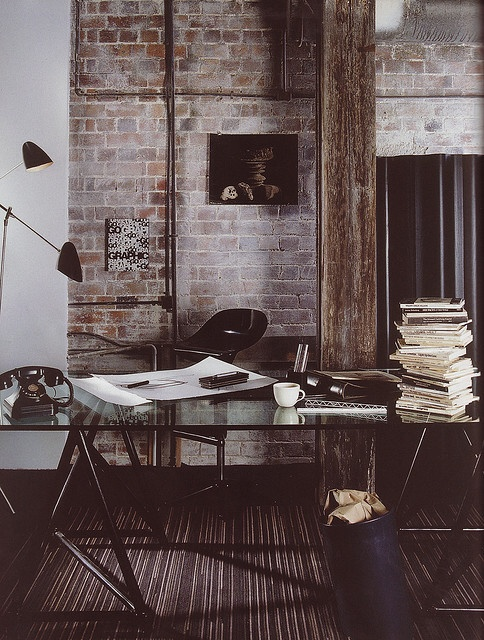 Dark Home Office with Exposed Brick