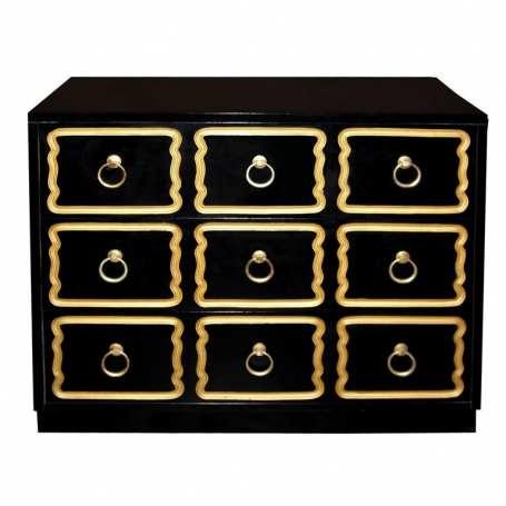 Dorothy Draper Signature Black and Gold Dresser