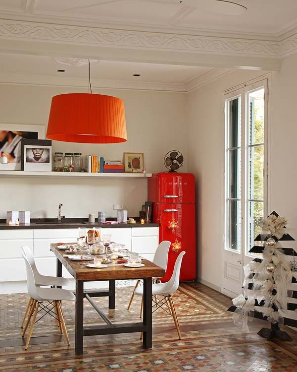 Eclectic Kitchen with Red Mod Fridge and Drum Light Shade