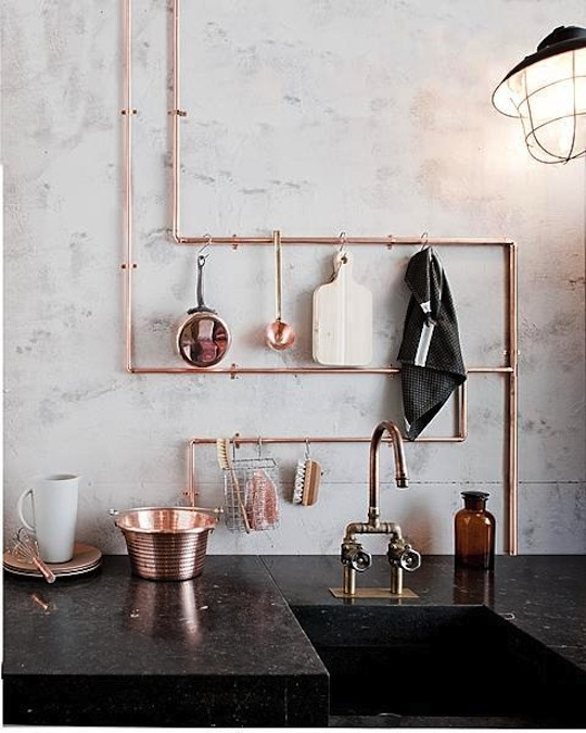 Exposed Copper Kitchen Piping