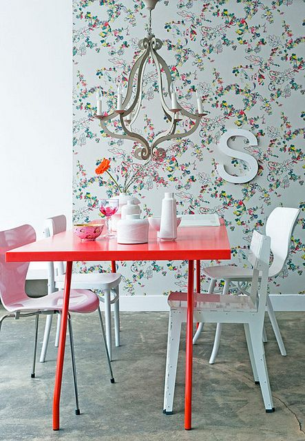 Funky Dining Room With Pink Table