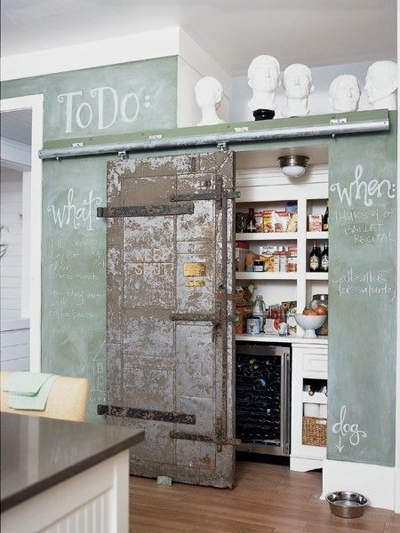 Green Chalkboard Wall With Reclaimed Barn Door
