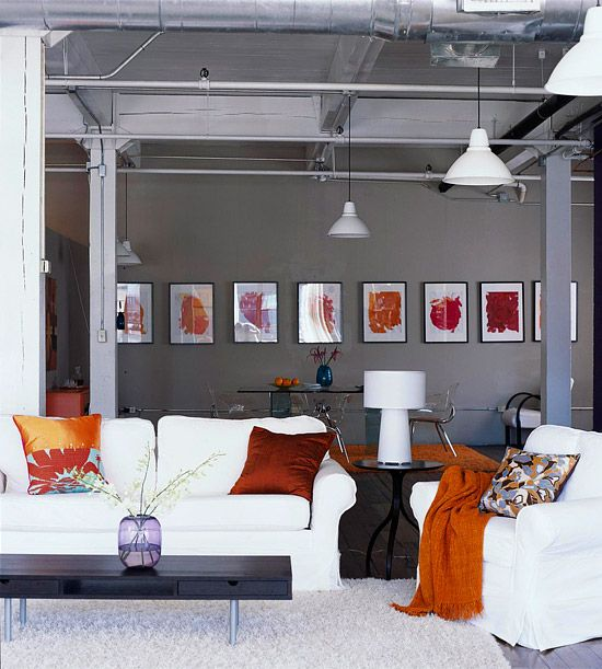 industrial chic grey and orange living room