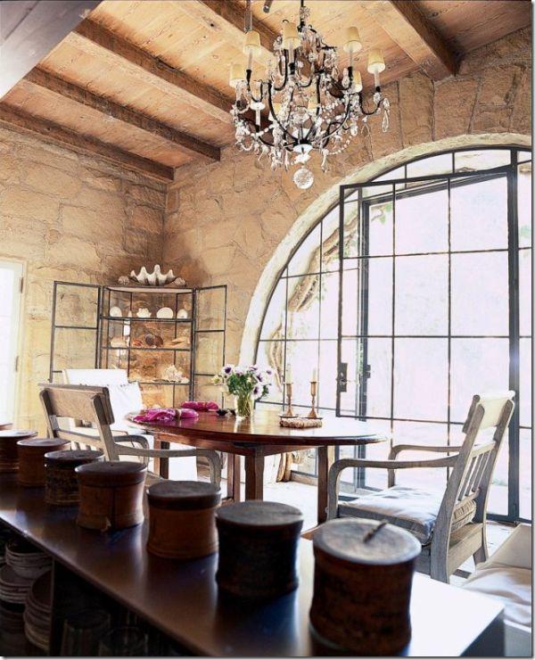 John Saladino Rustic Dining Room