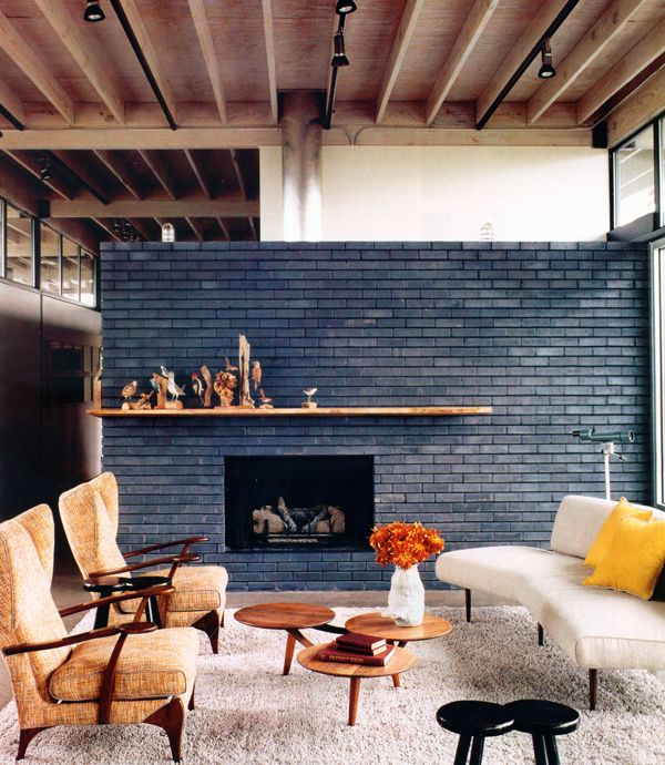 Midmod Living Room with Exposed Brick Wall
