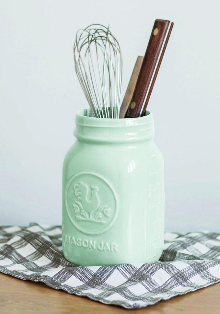 Mint Painted Mason Jar