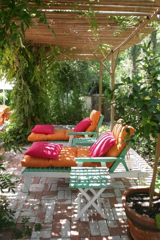 Orange and Pink Outdoor Lounge Chairs