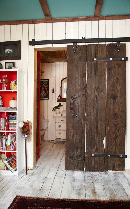 Reclaimed Rustic Wood Sliding Bathroom Door