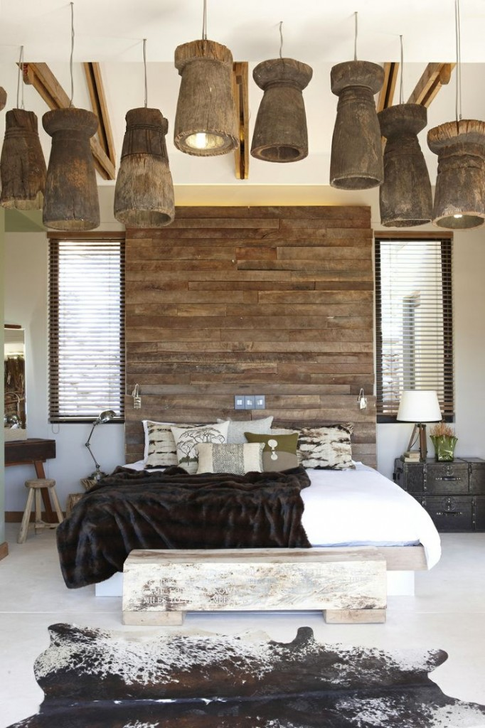 Rustic Bedroom with Drum Lighting