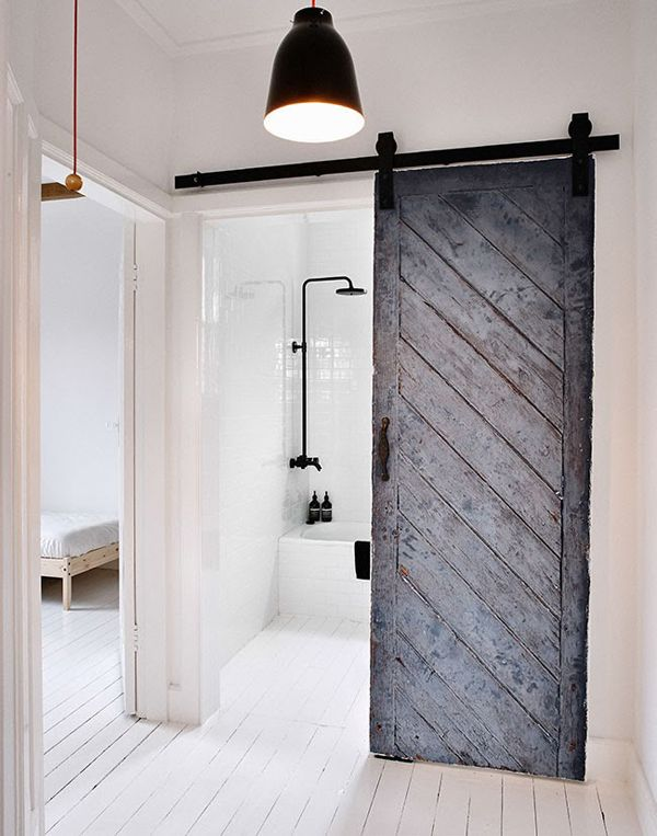 Rustic Black and White Bathroom Barn Door