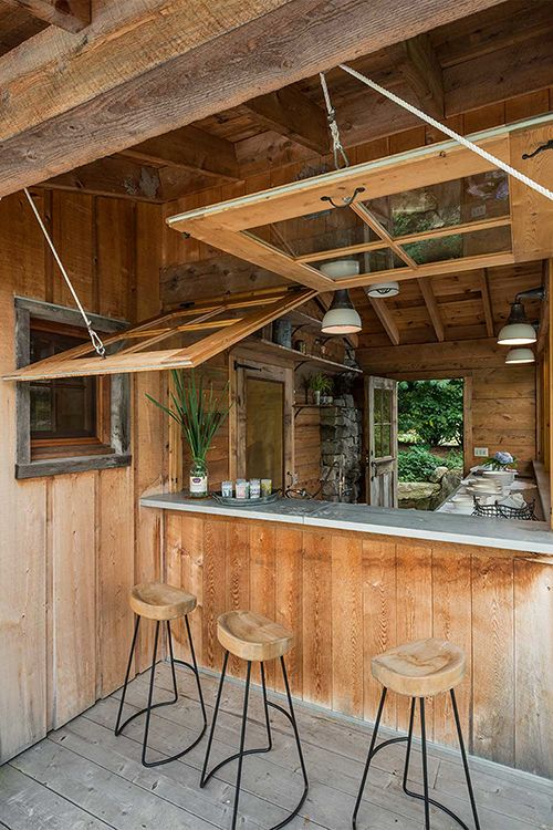 Outdoor rustic bar ideas images for Wood outdoor bar ideas