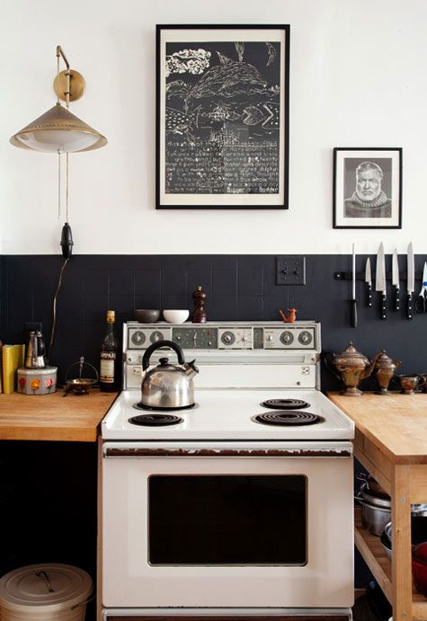 Shabby Chic Black and White Kitchen