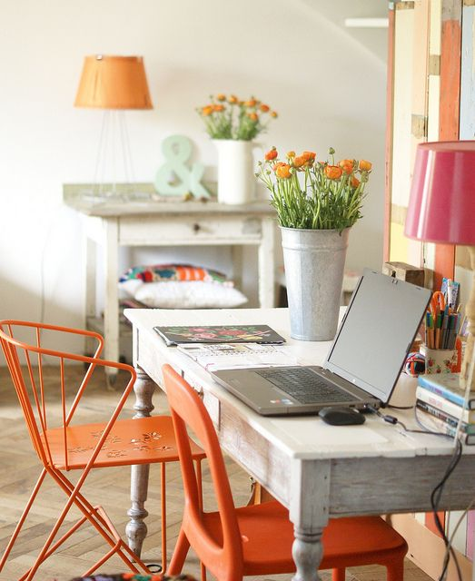 Shabby Chic Workspace With Orange Chairs