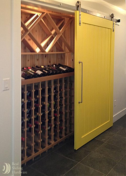 Yellow Barn Door for Wine Closet