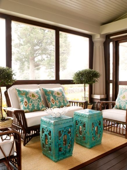 Sun Room with Black and Turquoise Accents