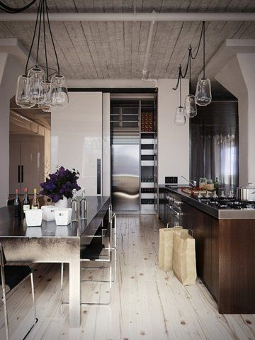 Wood and Steel Shotgun Kitchen