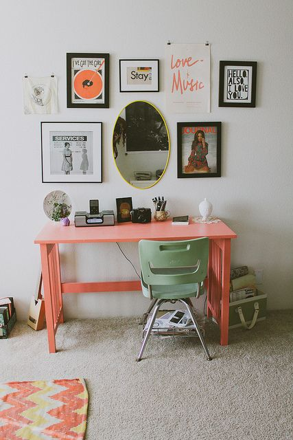 Workspace With Peachy Pink Desk