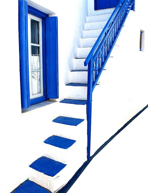 Blue and White Stairs