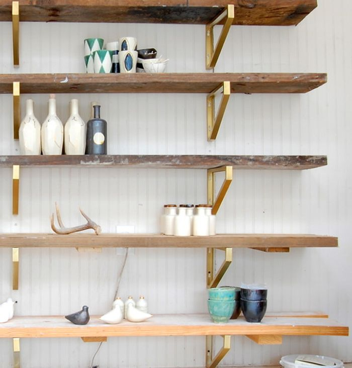 Brass and Reclaimed Wood Shelving