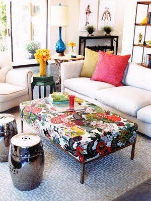 Colorful Printed Ottoman