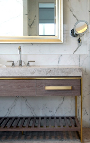 Contemporary Bathroom with Brass Hardware