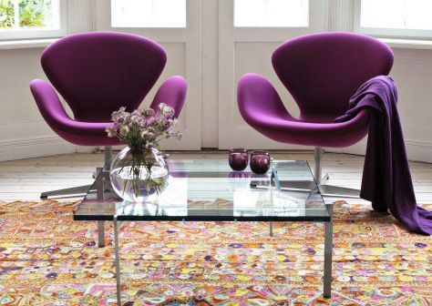Contemporary Living Room with Plum Swan Chair