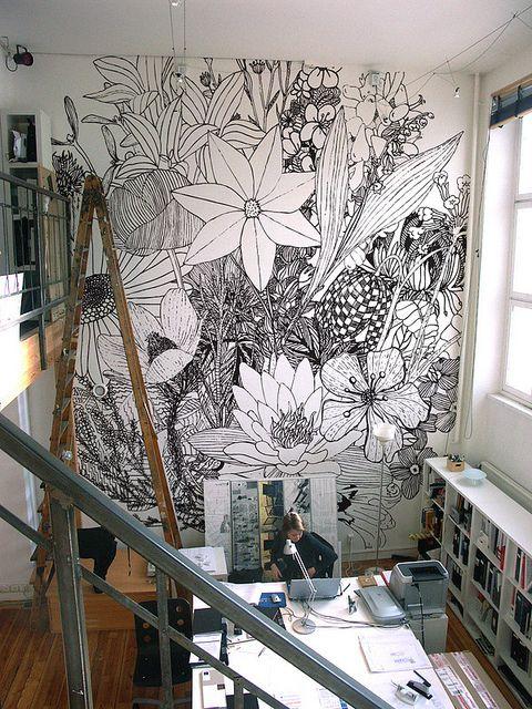 Drawn Floral Wall