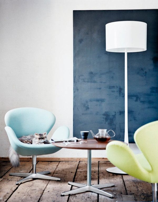 Living Room with Two Colors of the Swan Chair