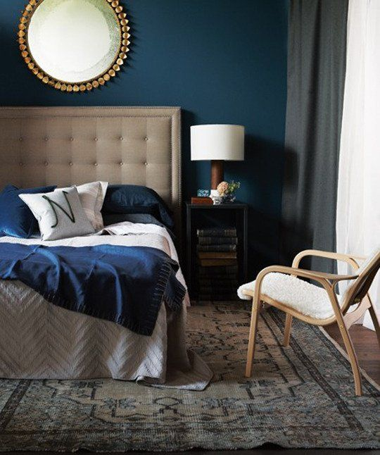 Navy Bedroom with Gold Accent Mirror