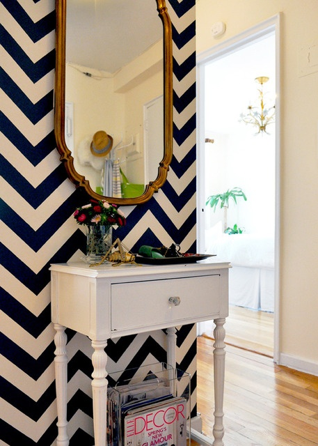Navy Blue Gold and White Entry Way
