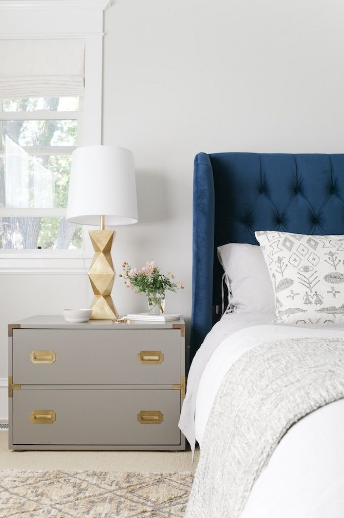 Navy Tufted Headboard with Gold Accents