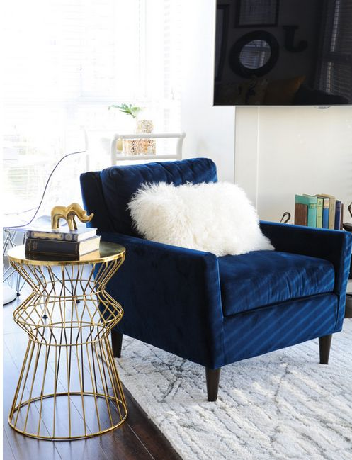 Navy Velvet Chair with Gold End Table