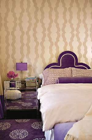 Purple and Tan with Patterned Wall and Floor