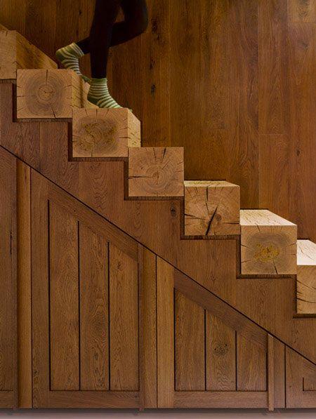 Rustic Sawn-Lumber Stair
