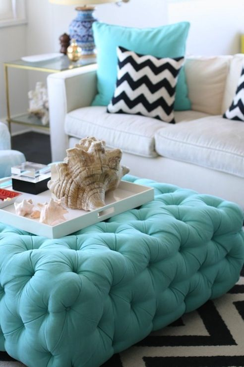 Sea Blue Tufted Ottoman