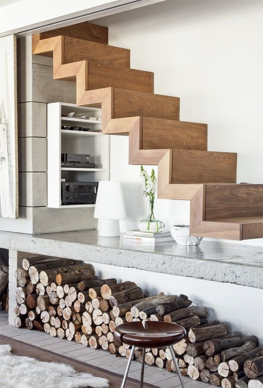 Sleek Walnut Stairs