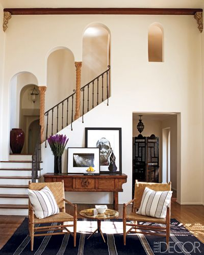 Spanish Inspired Sitting Room and Stairway